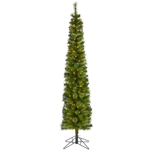 7' Green Pencil Artificial Christmas Tree with 150 Clear LED Lights