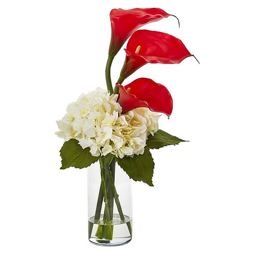 Calla Lily and Hydrangea Artificial Arrangement
