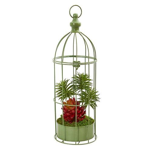 20' Succulent Artificial Plant in Decorative Cage