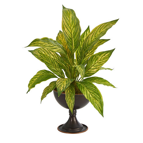 """17"""" Musa Leaf Artificial Plant in Metal Chalice"""