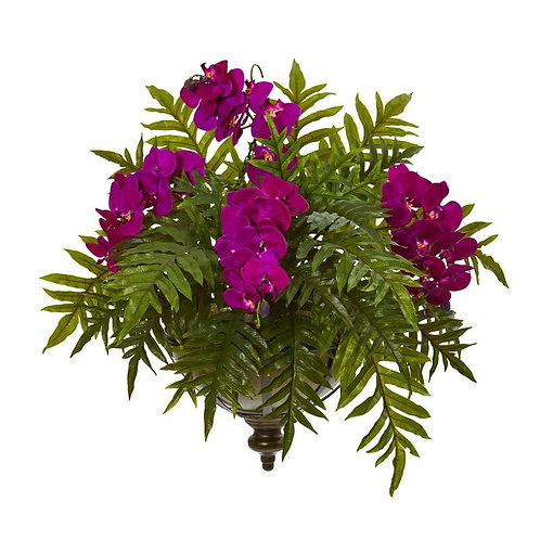 Phalaenopsis Orchid and Fern Artificial Plant in Metal Hanging Bowl