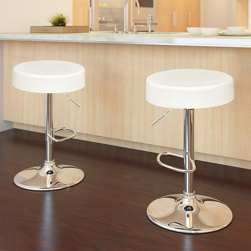 Adjustable Round Leather Swivel Seat Bar Stool-White