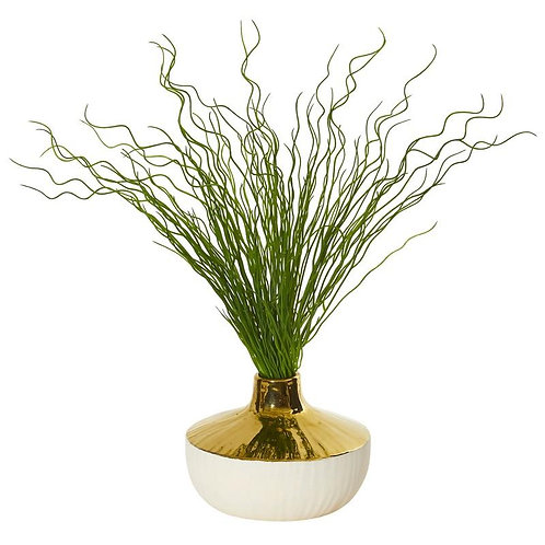 "19""  Curly Grass Artificial Plant in Designer Planter"
