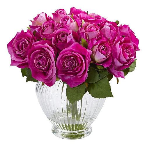 """9""""  Rose Artificial Floral Arrangement in Elegant Glass Vase"""