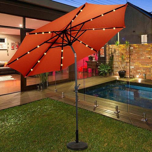 10 ft Patio Solar Umbrella with Crank and LED Lights-Orange