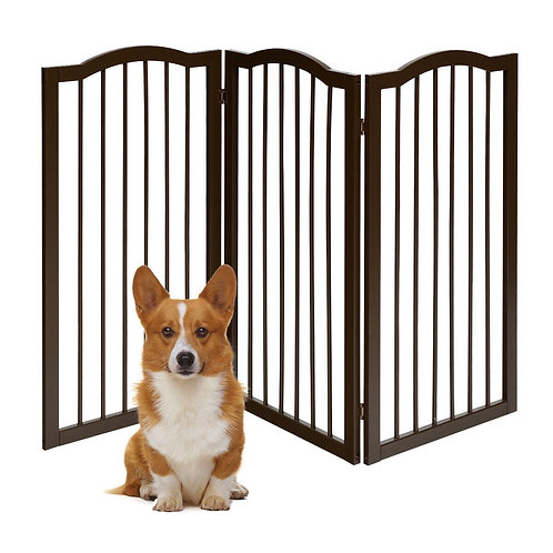 3-Panel Wooden Freestanding Pet Gate w/ Arched Top