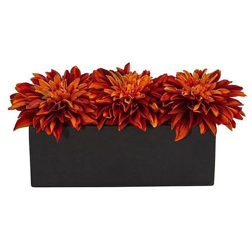 Dahlia Artificial Arrangement in Black Planter