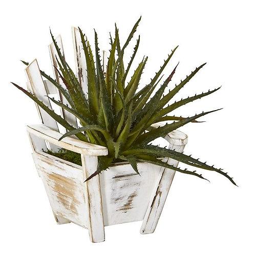 "11""  Aloe Succulent Artificial Plant in Chair Planter"