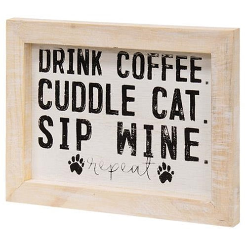 Pack of 4 Coffee Cat and Wine Framed Sign