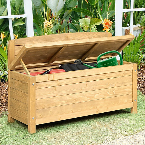 """16.5 Gallon Wood Storage Bench Deck Outdoor Seating 35.5""""-Yellow"""