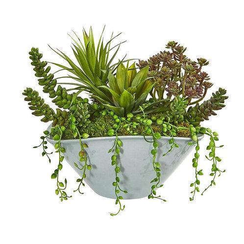 Succulent Garden Artificial Plant in Green Vase