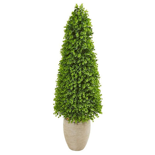 "52"" Eucalyptus Topiary Artificial Tree in Sand Colored Planter"