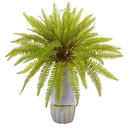 "18""  Fern Grass Artificial Plant in Stoneware Planter"