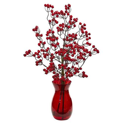 Red Berry Artificial Arrangement in Ruby Vase