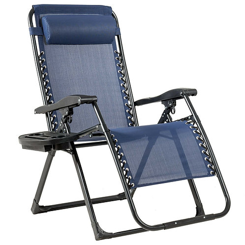 Oversize Lounge Chair Patio Heavy Duty Folding Recliner-Navy