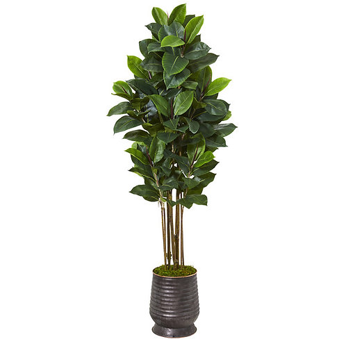 "64"" Rubber Leaf Artificial Tree in Ribbed Metal Planter"
