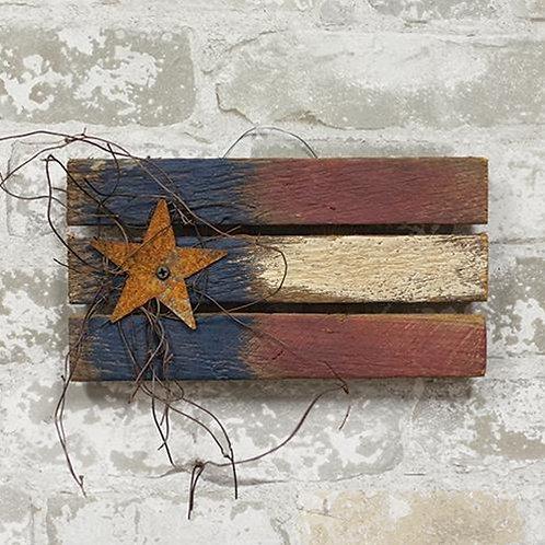 "Pack of 2 Lath Flag w/Rusty Star 9"""