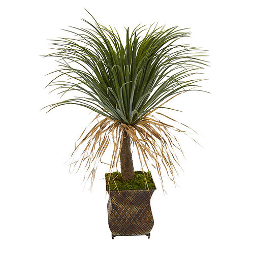 "37"" Pony Tail Palm Artificial Plant in Decorative Metal Planter"