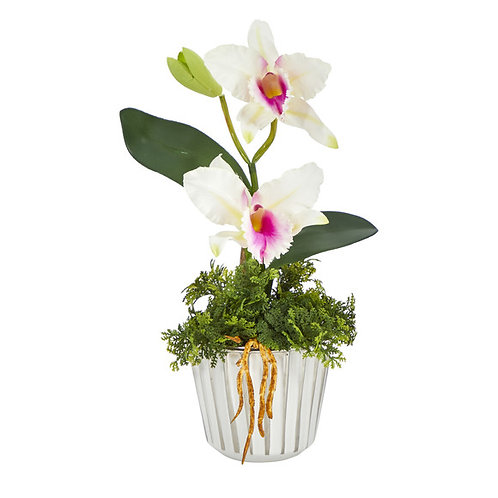 """13"""" Mini Orchid Cattleya Artificial Arrangement in White Vase w/Silver Trimming"""