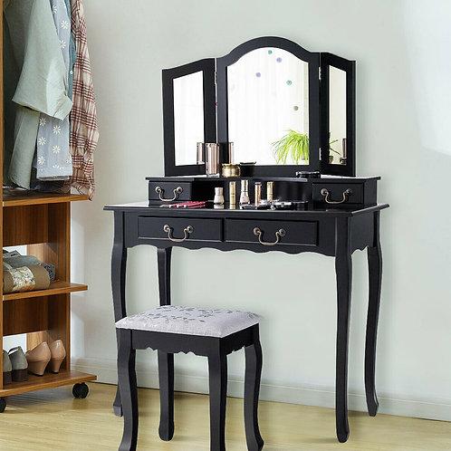 Tri Folding Mirror Makeup Dressing Vanity Set with 4 Drawers-Black