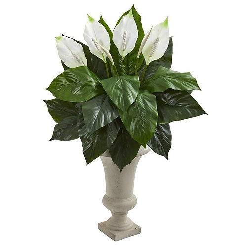 Spathifyllum Artificial Plant in Sand Colored Urn