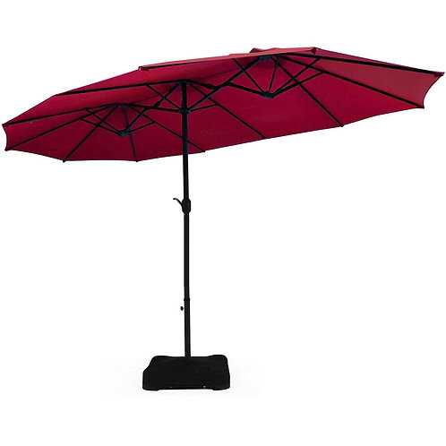 15 Ft Patio Umbrella Outdoor Umbrella with Crank & Base-Burgundy