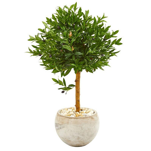 "38""  Olive Topiary Artificial Tree in Bowl Planter UV Resistant"