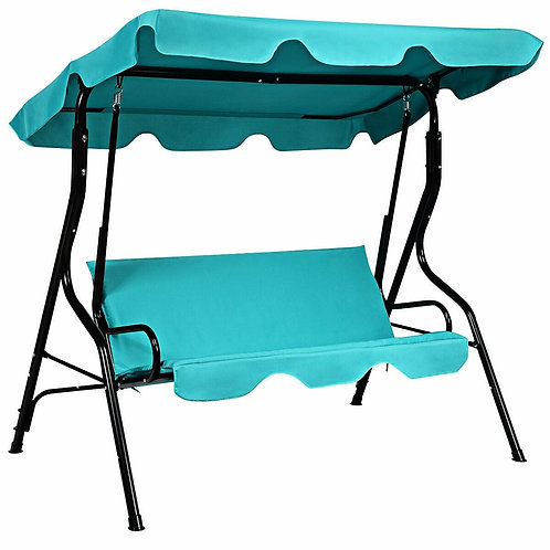 3 Seats Patio Canopy Swing-Black