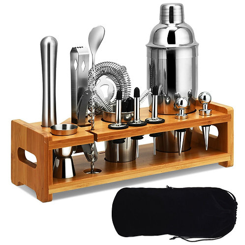 23 PCS Stainless Cocktail Shaker with Bamboo Stand
