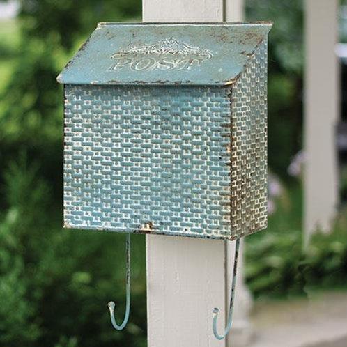 Vintage Blue Metal Basketweave Post Box w/ Hooks