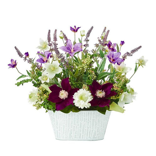 "13""  Mixed Flower Artificial Arrangement in Decorative Vase"
