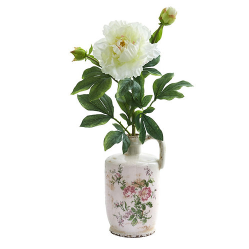 "22"" Peony Artificial Arrangement in Floral Pitcher"