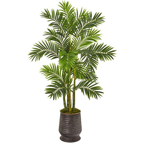 "63""  Areca Palm Artificial Tree in Ribbed Metal Planter"