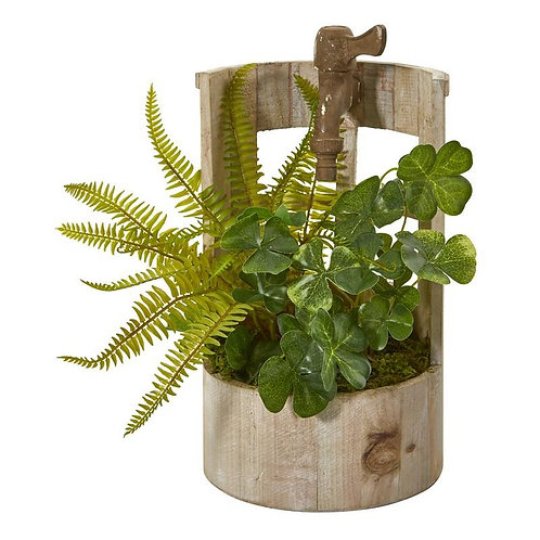 "12""  Clover and Fern Artificial Plant in Faucet Planter"