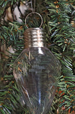 Pack of 4 *Clear Teardrop Bulb Ornament