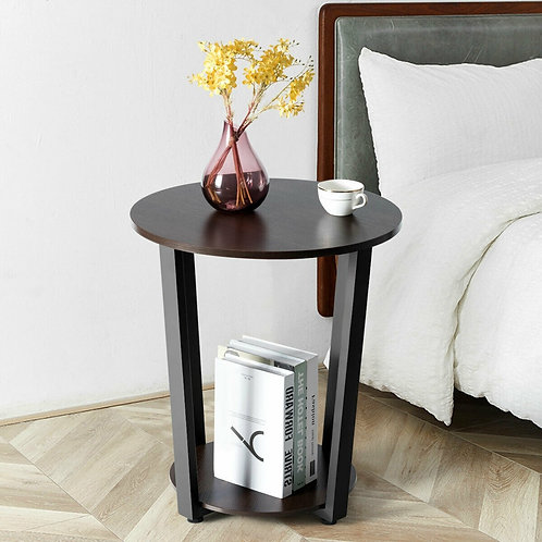 2-tier Round End Table with Storage Shelf & Metal Frame-Brown