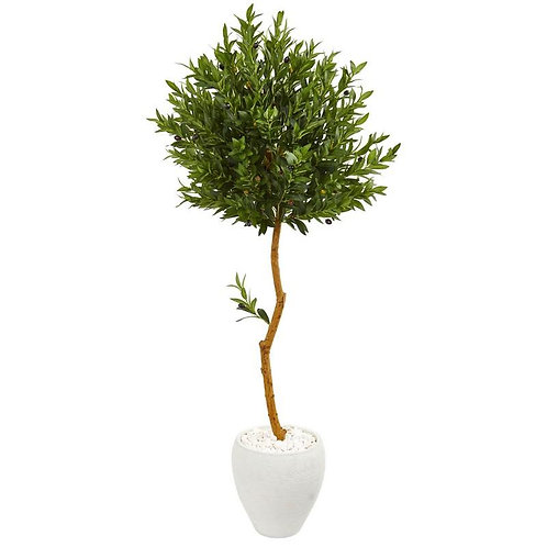 63' Olive Topiary Artificial Tree in White Planter UV Resistant (Indoor/Outdoor)
