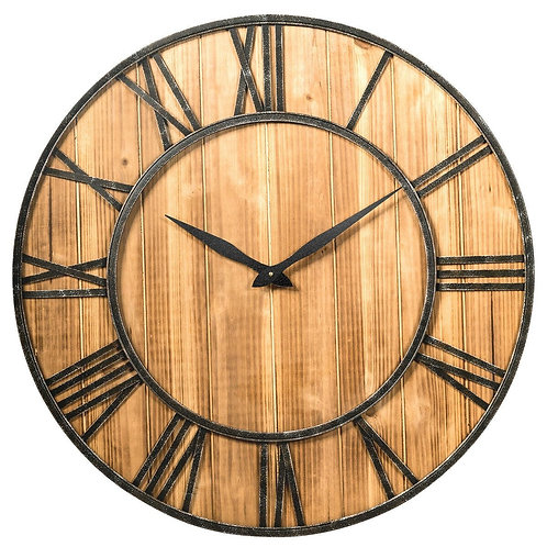 "30"" Round Wall Clock Decorative Wooden Silent Clock with Battery"
