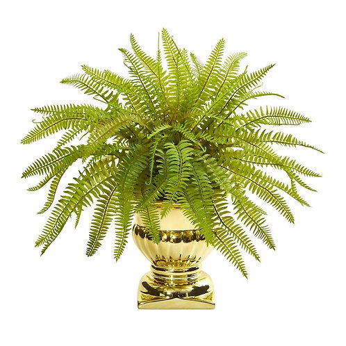 20' Fern Artificial Plant in Gold Urn