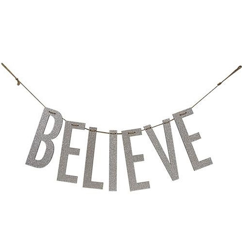 """""""Believe"""" Silver Wood Garland Large"""