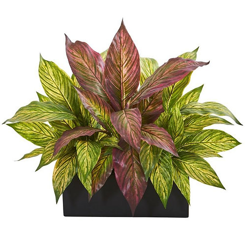 "16"" Musa Leaf Artificial Plant in Black Planter"