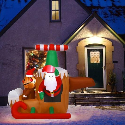 6Ft Long Inflatable Santa Claus Flying Airplane
