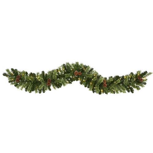 6' Christmas Artificial Garland with 50 Multicolored LED Lights and Pine Cones