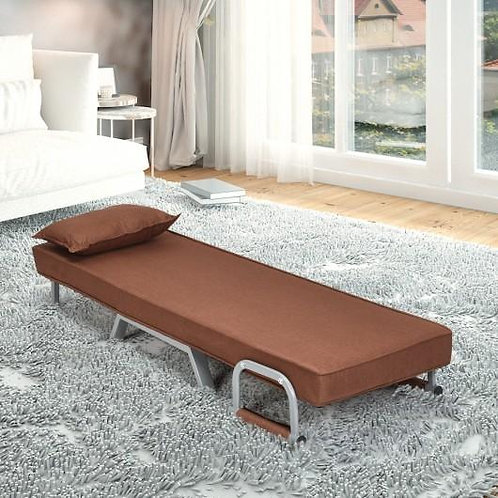Folding 5 Position Convertible Sleeper Bed Armchair Lounge Couch w/Pillow-Coffee