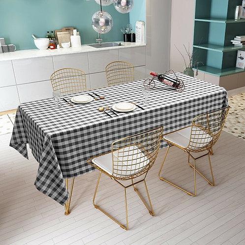 "10 Pcs 60"" x 102"" Rectangular Polyester Checker Kitchen Tablecloth-Black"