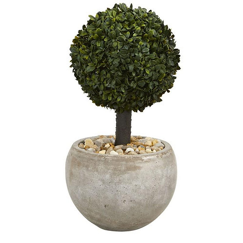 2' Boxwood Topiary Artificial Tree in Sand Colored Bowl (Indoor/Outdoor)