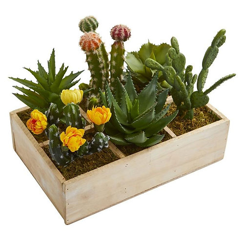 "11""  Mixed Succulent Garden in Tray Artificial Plant"