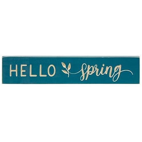 """Pack of 2 *Hello Spring Engraved Sign 18"""" x 3.5"""""""