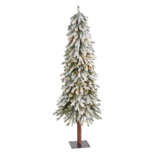 5' Flocked Grand Alpine Artificial Christmas Tree with 200 Clear Lights