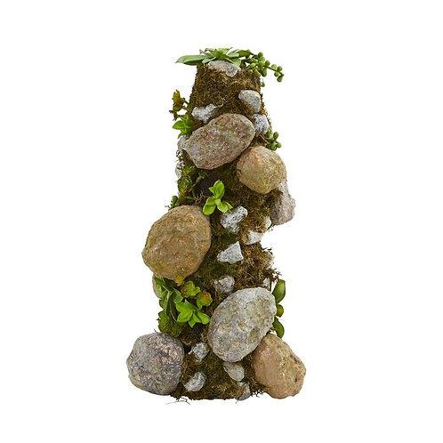 "18""  Succulent Rock Column"